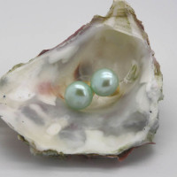 9ct 12mm Green Pearl Stud Earrings, Morecambe, Pam Bradley, Pumjum, Jewellery, vintage, handmade, cumbria, retro, costume jewellery, The Jewllery parlour, lancashire, pearl, gold, green