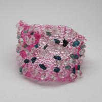 Knitted Wire Apatite Bracelet, Morecambe, Pam Bradley, Pumjum, Jewellery, vintage, handmade, cumbria, retro, costume jewellery, The Jewllery parlour, lancashire, bracelet, apatite, wire