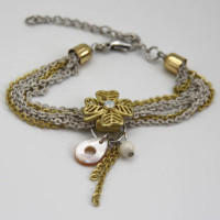 Multi-Chain Bracelet with Mop Charm, Morecambe, Pam Bradley, Pumjum, Jewellery, vintage, handmade, cumbria, retro, costume jewellery, The Jewllery parlour, lancashire, bracelet, mop, charm