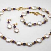 Pearl amethyst set, Morecambe, Pam Bradley, Pumjum, Jewellery, vintage, handmade, cumbria, retro, costume jewellery, The Jewllery parlour, lancashire, necklace, bracelet, earrings, goldplated, sterling silver, pearl, amethyst