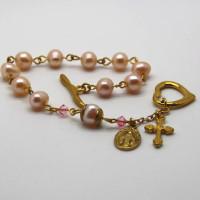 Morecambe, Pam Bradley, Pumjum, Jewellery, vintage, handmade, cumbria, retro, costume jewellery, The Jewllery parlour, lancashire, rosary, bracelet, pink pearls, swarovski crystals
