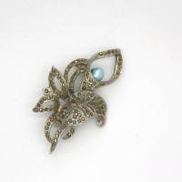 Morecambe, Pam Bradley, Pumjum, Jewellery, vintage, handmade, cumbria, retro, costume jewellery, The Jewllery parlour, lancashire, vintage, brooch, marcasite, blue, freshwater, pearl